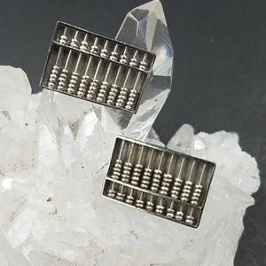 Vintage Sterling Silver Abacus Cuff Links